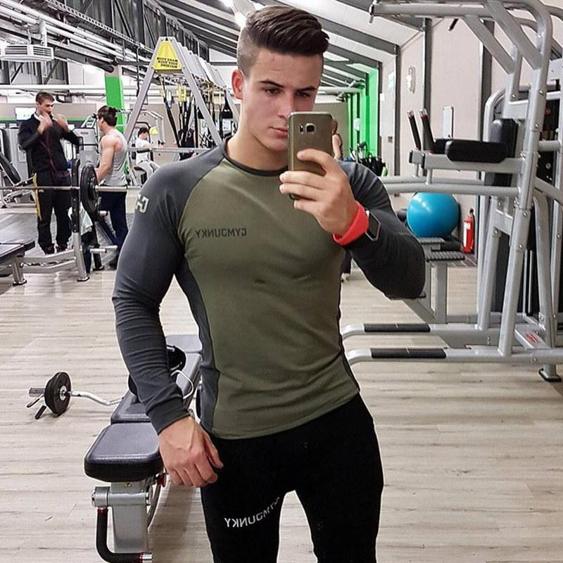 9630bd09 Mens Long Sleeved T Shirt Cotton Slim Fit Gyms Fitness Bodybuilding Workout  Crossfit Clothing Male Casual Fashion Brand Tee Tops Cool T Shirt Companies  24 ...
