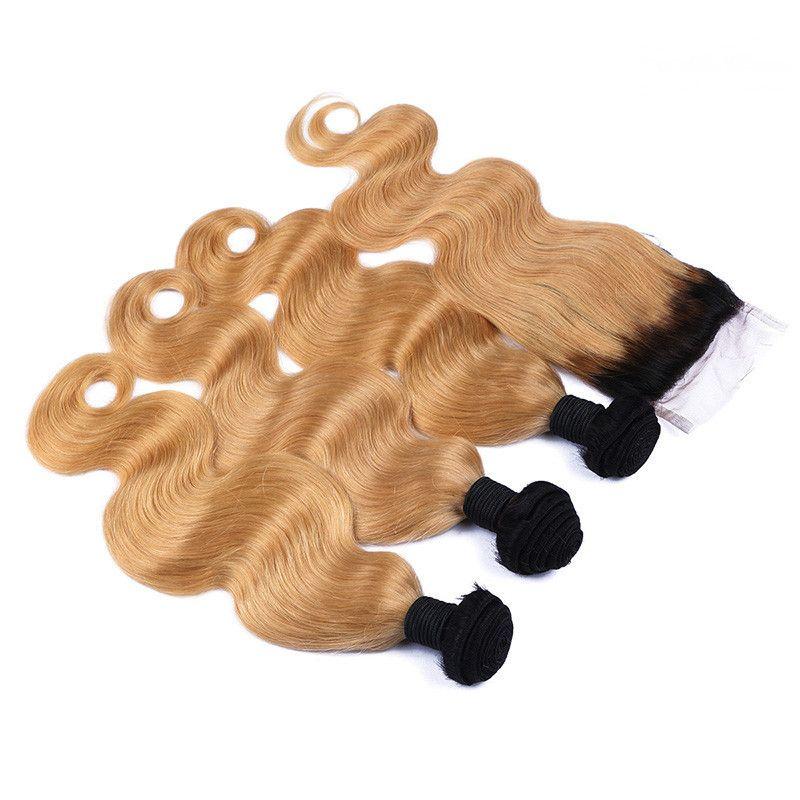 Two Tone 1B / 27 Biondo onda Ombre corpo fasci di capelli con capelli chiusura del merletto Blonde di miele Ombre umani brasiliani Weave e chiusura