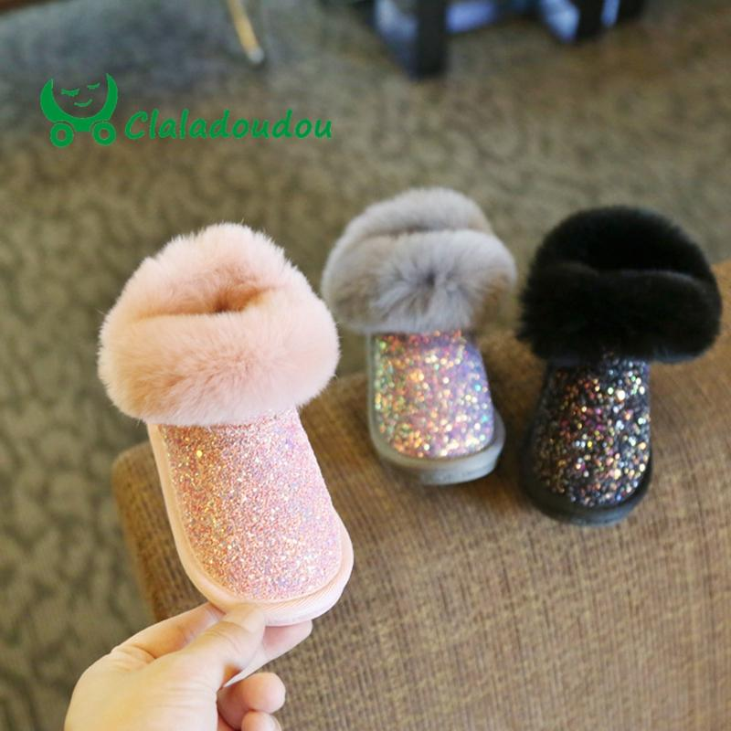 bc857fdec81c Claladoudou 12 15.5CM Kids Girls Bling Bling Snow Boots 1 2 3 Years Old  Baby Girl Ankle Boots Grey Baby Shoes Toddler Booties 11 Children Winter  Boots ...