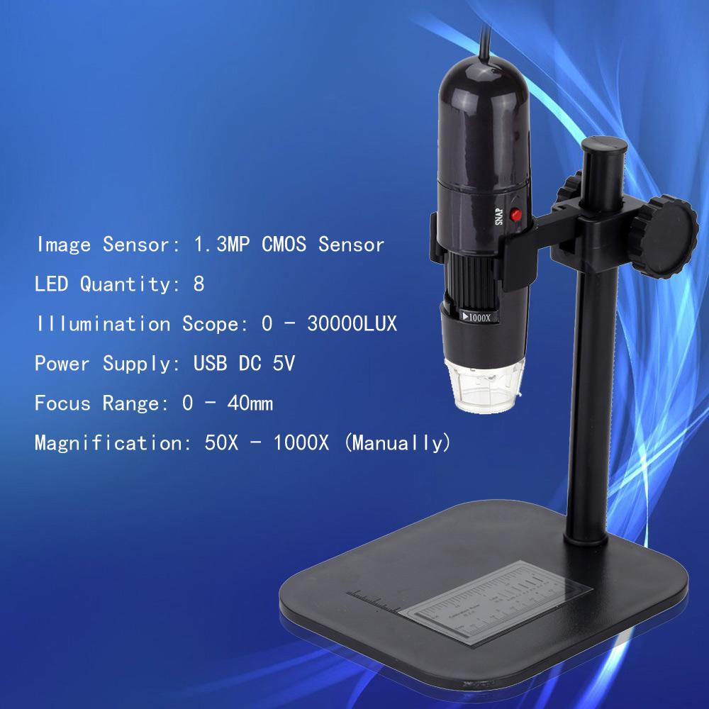 50-1000X 8LEDs USB Digital Microscope with Mini Zoom Endoscope Magnifier with Adjustable Stand True 1.3MP High Resolution Video Camera