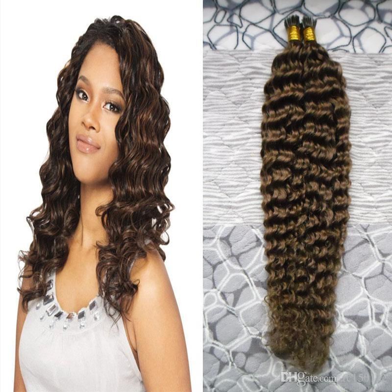 Cheap Double Drawn Human Remy I tip human hair Kinky Curly 100g/strands Keratin Stick I Tip Pre Bonded Micro Fusion Hair Extensions