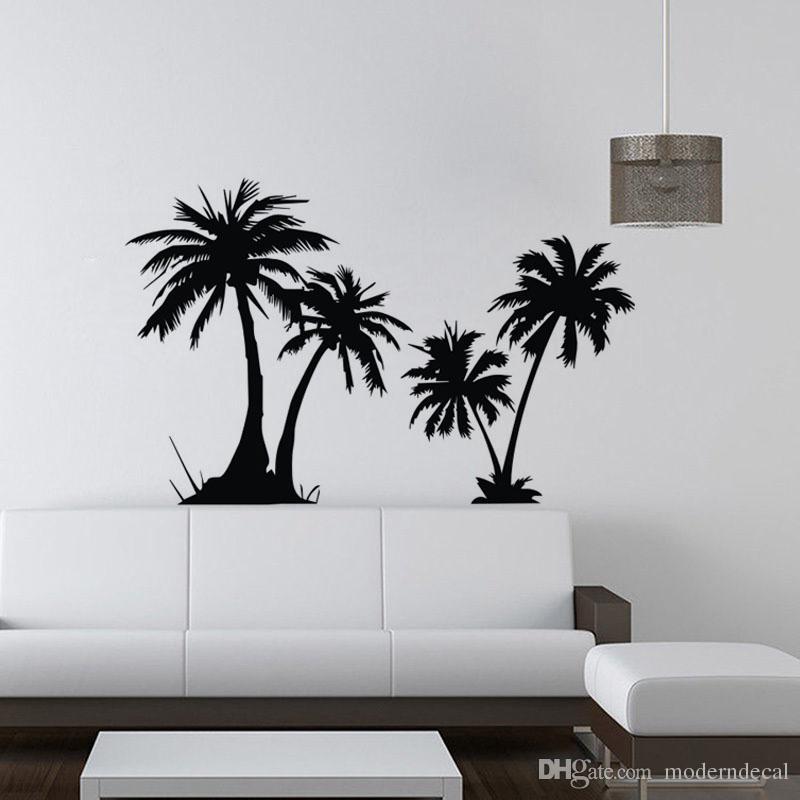 Seaside Palm Tree Wall Stickers Modern Home Decor Diy Vinyl Art Wall