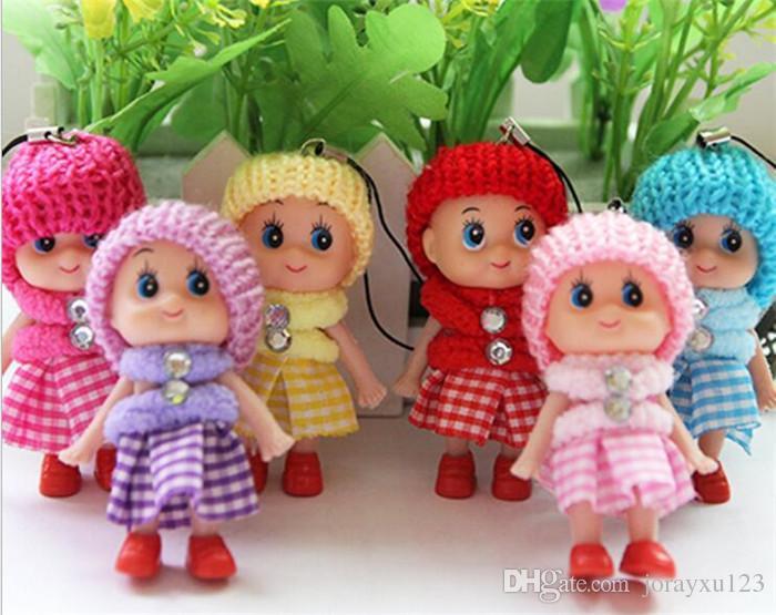 500 stücke Nette Kinder Spielzeug Weiche Interaktive Baby Dolls Spielzeug Schlüsselanhänger Mini Puppe Mädchen Schlüsselanhänger Ring Halter Phone Straps J084