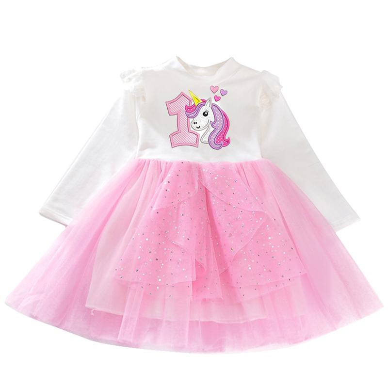 2019 Baby Girl 1 Year Birthday Tutu Dress Winter With Long Sleeve Baptism Clothes Infant Unicorn Party Vestido Bebes 24M From Huangqiuning
