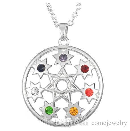 Großhandel Lemegeton 7 Farben Chakra Stones Yoga Zeichen Om Charme
