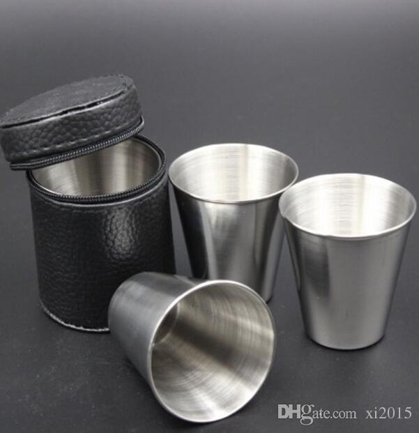 70ML Stainless Steel Pocket Shot Mini Cup With Case For Wine Beer Whiskey Drink Men's Outdoor Travel Gift