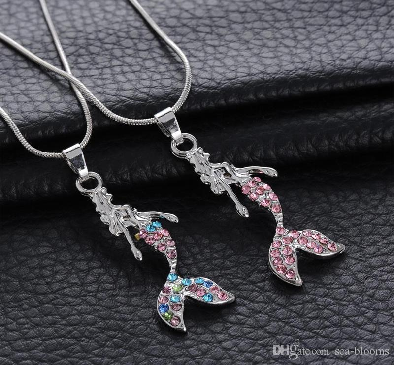 Crystal Mermaid Pendant Necklace Metall Alloy Necklace Sweater Chain For Women Fashion Fairytale Jewelry D468L