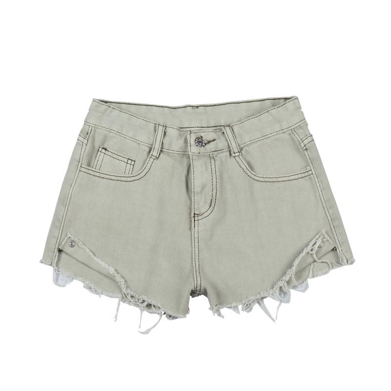 2a7cacbbc17 Bleached Vintage Tassel Dark Denim Shorts Women Washed Worn Classic ...
