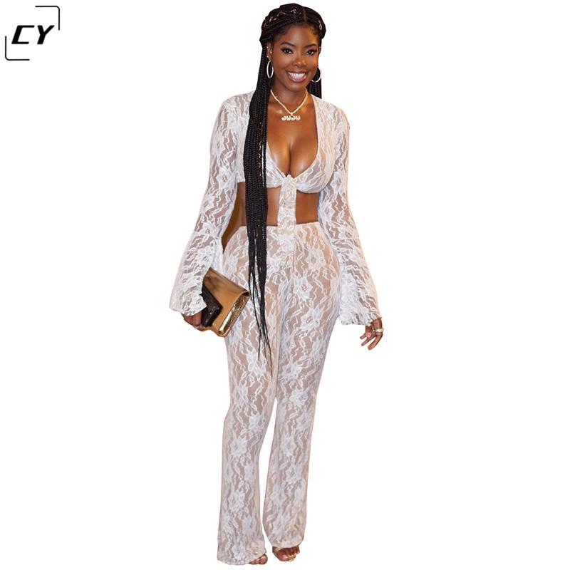3d006859 Sexy 2 Piece Set Women Mesh White lace pant Suit Lace Up Crop Top and Flare  Long Pants Set 2018 Autumn Outfit Clothes