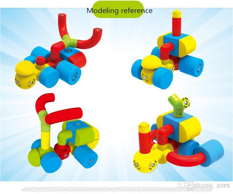 Magnetic pipeline blocks Building Blocks Toys for Children Magnetic Blocks  Creative Educational Magnetic Construction Playboards 17 pcs