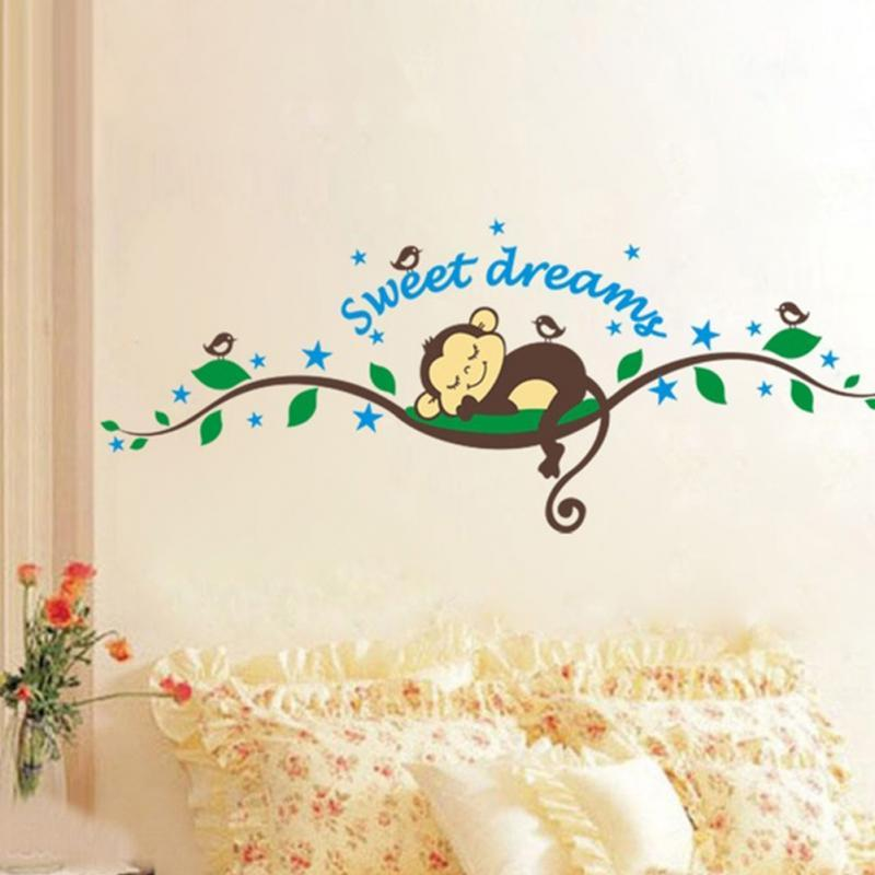 Cartone animato Sleep Monkey Sweet Dreams Ramo di un albero Wall Sticker Decal Wallpaper Boy Baby Room Home Decor NOVITÀ
