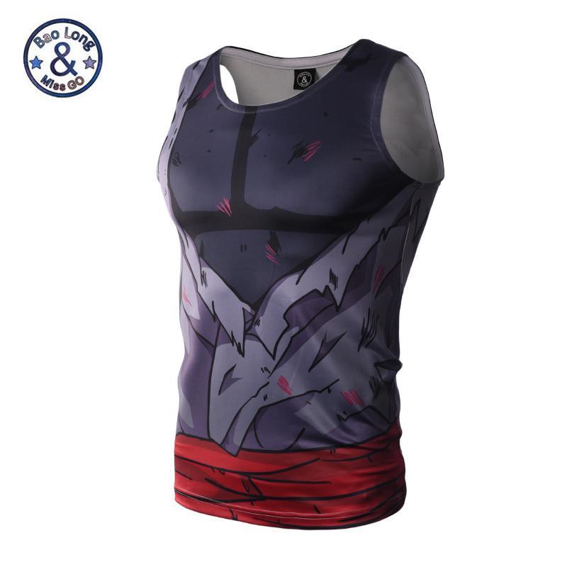 fe67fe366a Compre Homens 3d Animação Camisa De Compressão Apertado Encaixável Dragon  Ball Naruto Tanque Tops Sem Mangas T Shirt De Verão Musculação Roupas De  Soutong