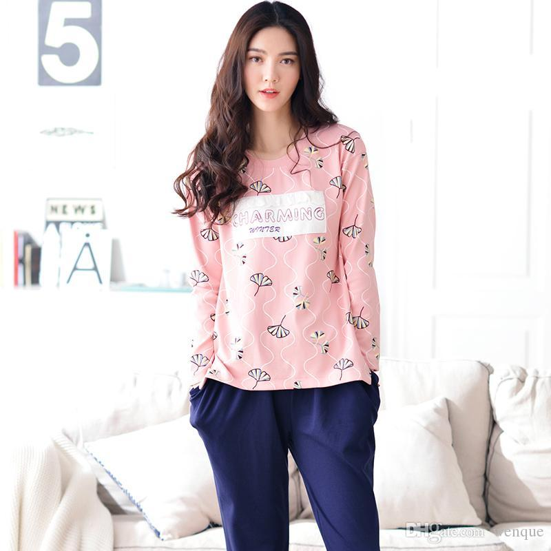 2018 Wholesale Women Pajamas Set Autumn And Winter Women Cotton Sleepwear  Female Pyjamas Tracksuit Home Clothing From Wenque d5b904558