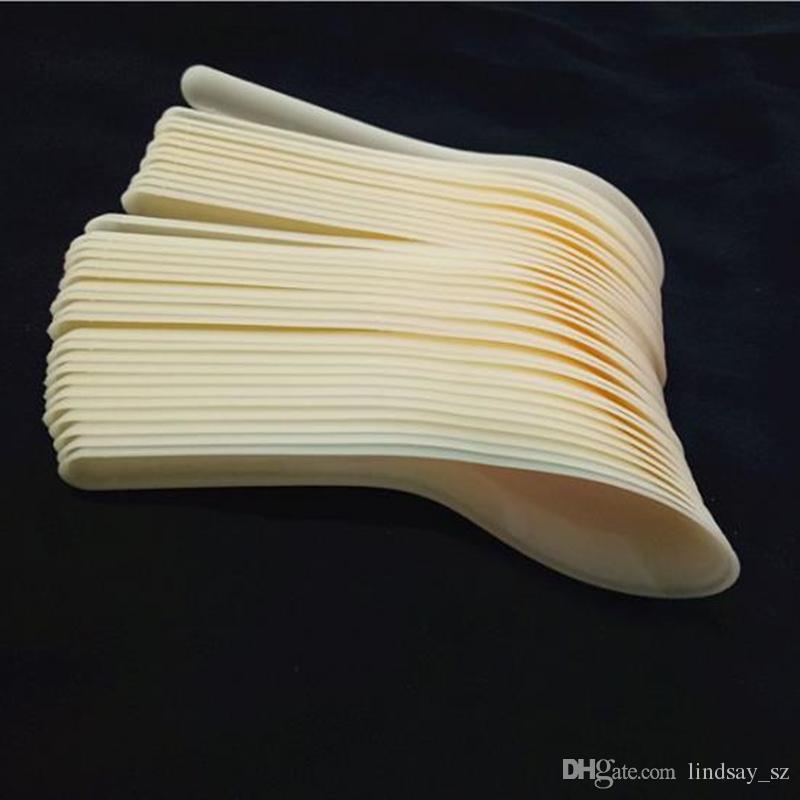 ملاعق حساء الغذاء سيمين رامين الأبيض ملعقة بلاستيكية في الهواء الطلق الطعام المتاح بيع سريع كعكة الجليد المياه