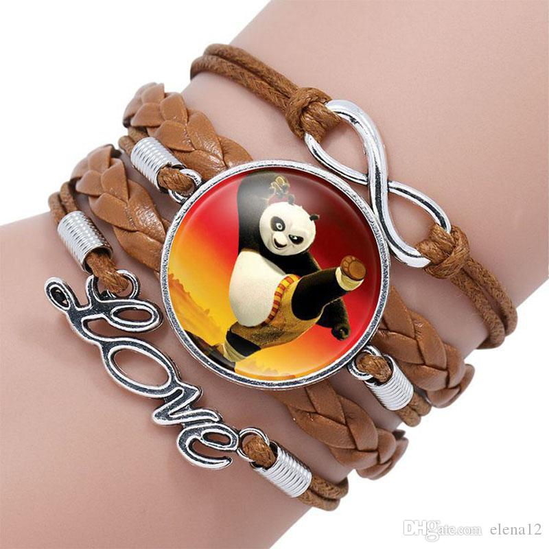 Pendentif Cabochon En Verre De Mode Infinity Amour En Cuir Charme double coeur Bracelet Pour Nouveau Panda Bijoux En Verre Wrap Bracelet 320049