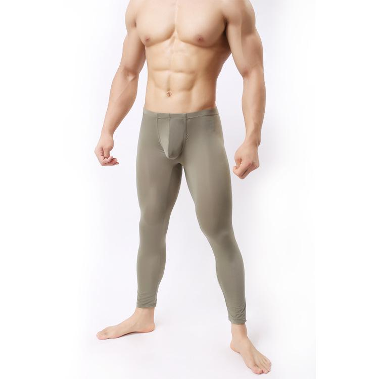 08c91b62aa5 2019 Winter Men Long Johns Ultra Thin Silky Sexy Mens Under Pants Bottoms  Pajama Low Rise Tight Legging Pouch Warm Long Johns From Bunnier, $36.25 |  DHgate.