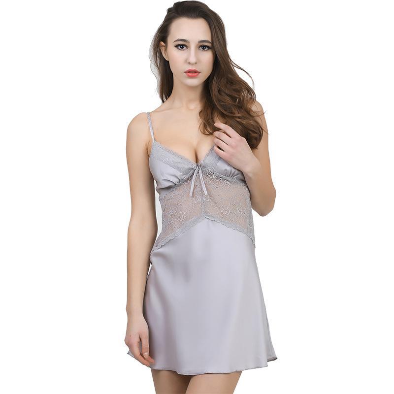 606d063b71 Satın Al Kadınlar Sexy Lingerie Saten Gecelik Kolsuz Dantel Yaz Elbise  Pijama Babydoll Gecelik Gecelik Ipek Gecelik Ev Giysileri