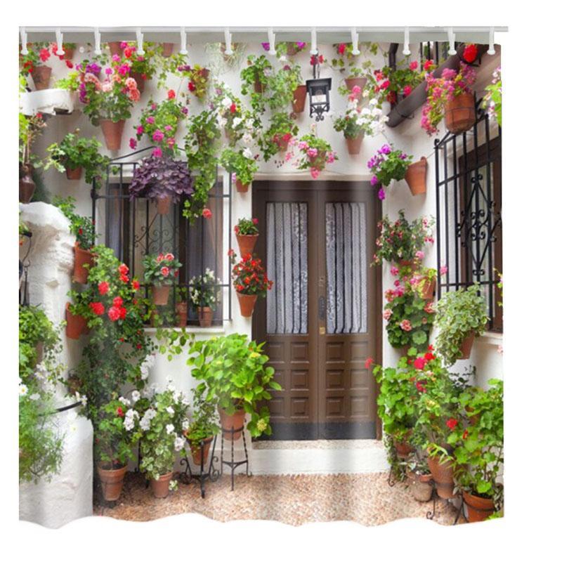 2019 Luxurysmart Old Retro Wooden Door Shower Curtains Custom Design