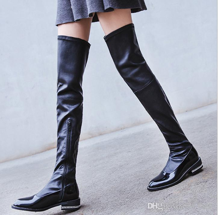 New Knee Flat Ladies The 2017 Over Boots Fashion Winter UjqpSLMzGV