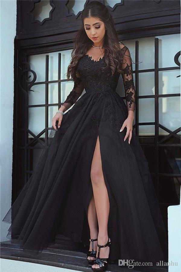2018 Sexy Black A Line Lace Prom Dresses Arabic Long Illusion Sleeves High Side Split Formal Dresses Evening Wear Party Gowns Vestidos