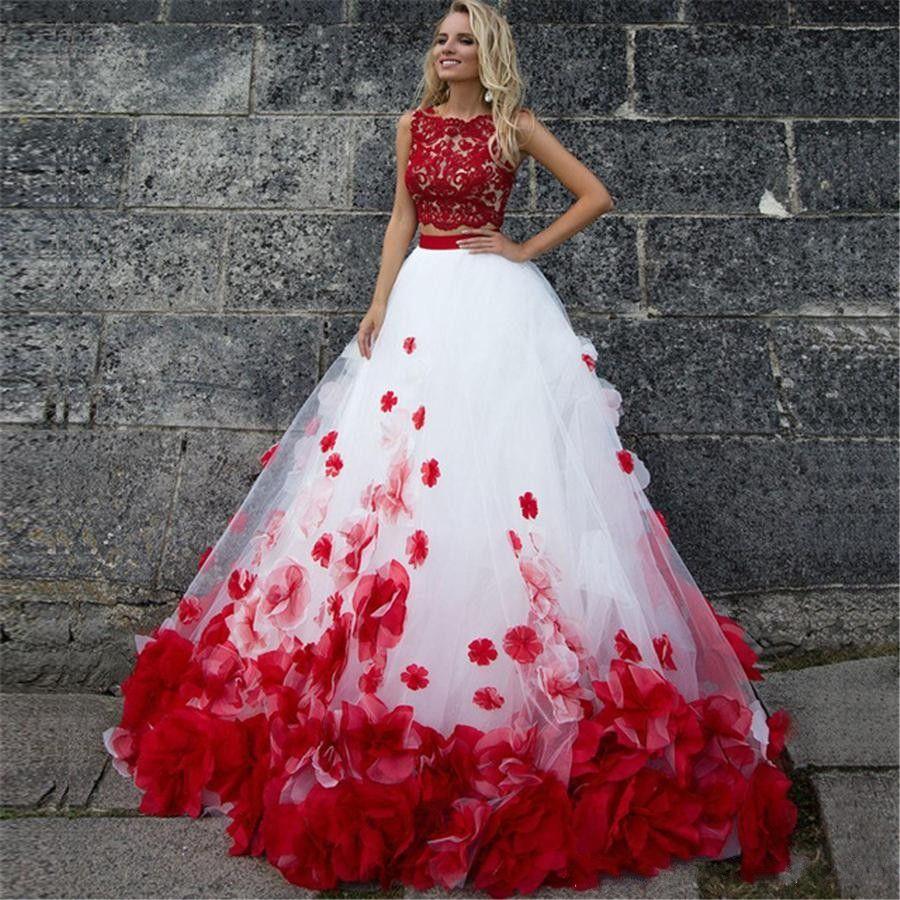 Due pezzi bianco rosso Prom Dresses Appliques Pizzo 3D Fiori Tulle Ball Gown Quinceanera Abiti Sweet 16 abiti