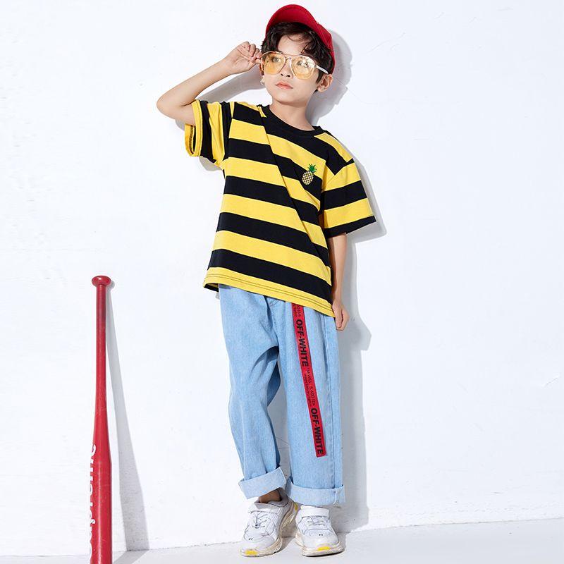 b57fd40b7aa9 Hip Hop Dance Costumes Kids Street Dancing Yellow Striped Top Jeans Unisex  Modern Boys Clothes Child Dance Jazz Outfits DN2529