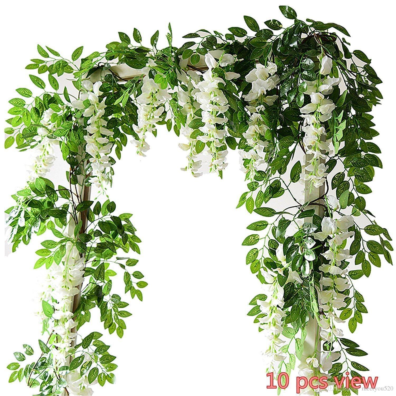 2018 Artificial Flowers 6 6ft Silk Wisteria Ivy Vine