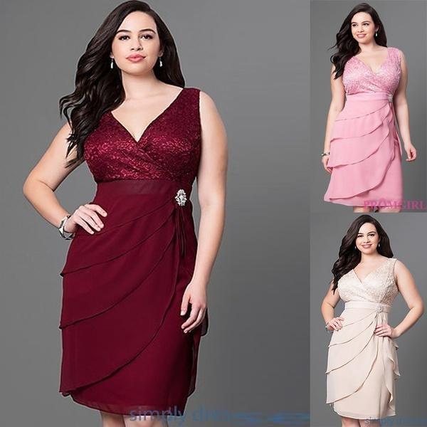 0e197959b Compre Nova Moda Feminina Plus Size Vestido De Festa Semi Formal De  Strawberry9