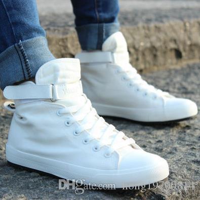 2017 جديد الرجال عارضة الأحذية تنفس الأسود عالية أعلى الدانتيل متابعة قماش أحذية رياضة قماشية الرجال الأبيض الشقق