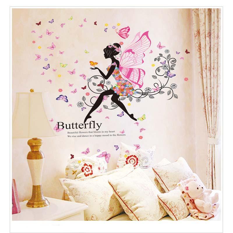 2018 New Flower Elves Dance Girl Bedroom Wall Romantic Glass