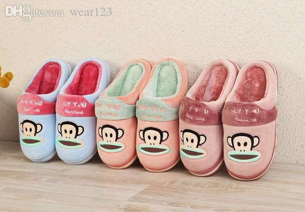 Brand New Home Men Women Pa ul Fr ank Plush Slippers, thick bottom, fashion plush warm cotton slippers.
