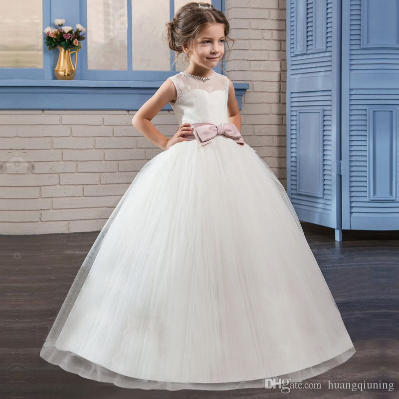 803adedc02a43 Children Graduation Gowns Kids Clothes Little Girls Events Dress Girls  Costume Teenager School Outfits Summer White Wedding Gowns for 5-14 T