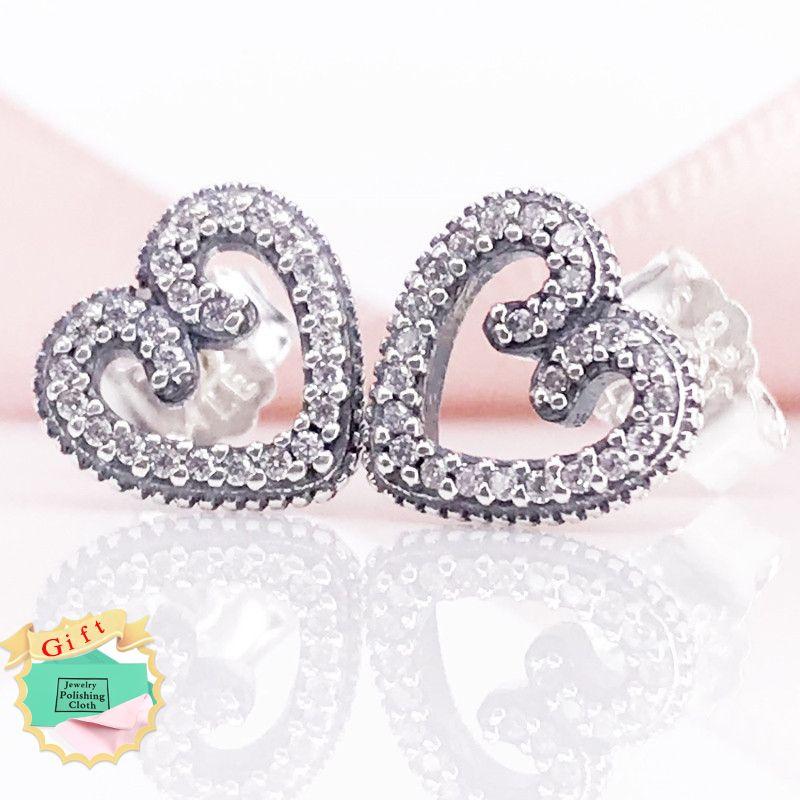 902a32537 2019 Heart Swirls Stud Earrings Authentic S925 Sterling Silver Clear CZ  Fine Jewelry Earring 297099CZ Earring From Dhalice, $14.88 | DHgate.Com