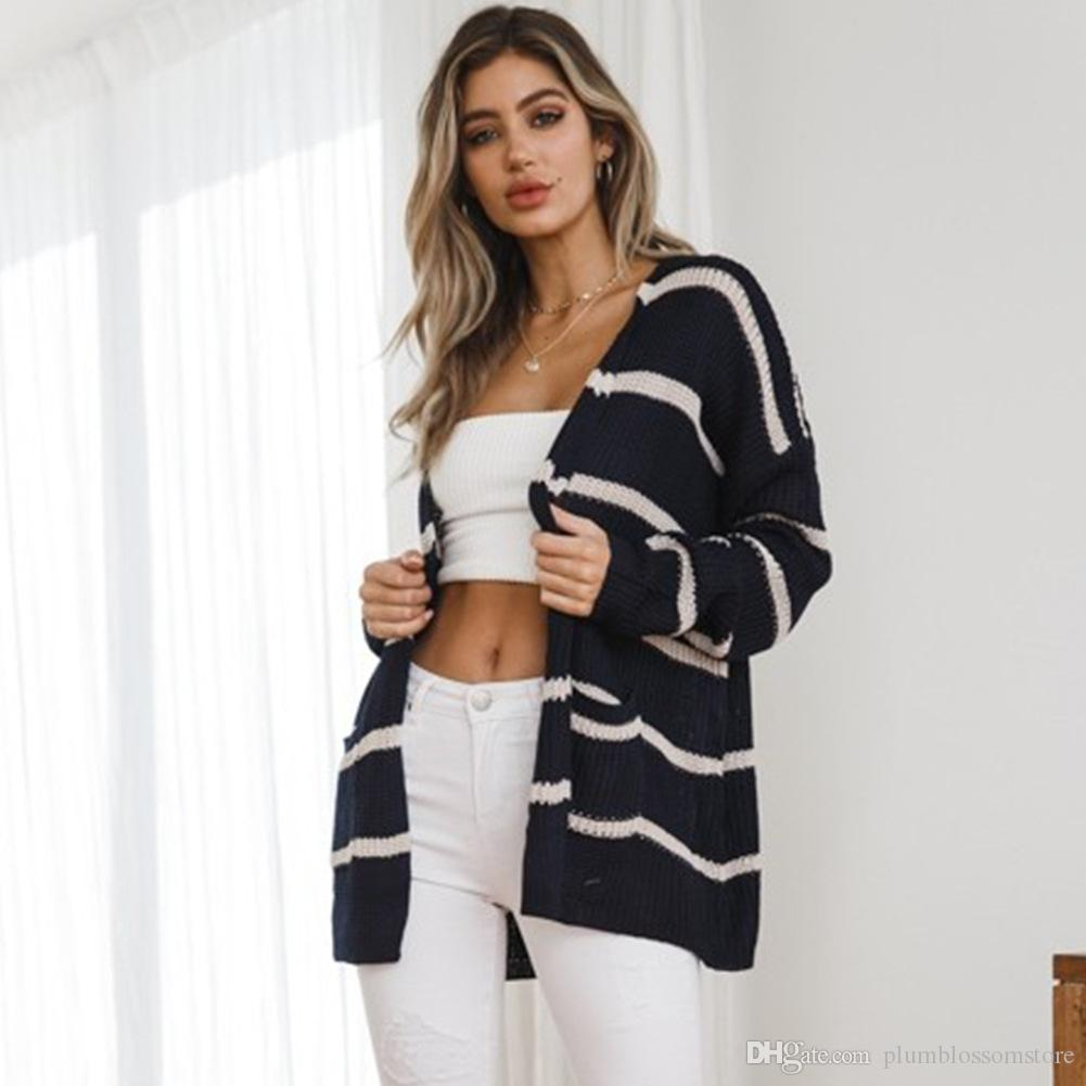 7e8d97c3a5 2019 Women Knitted Sweaters Navy Blue Long Jacket Cardigan Fashion Loose  Sexy Sweater Autumn Winter Long Sleeves Jumper Casual Streetwear Coat From  ...