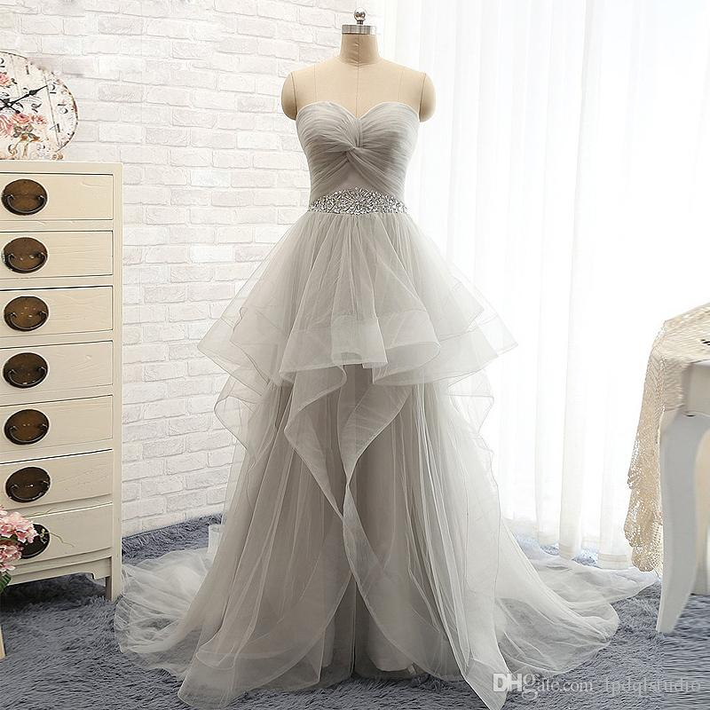 Fariy Light Gray Ball Gown Wedding Dresses Shining Sequins Beads ...
