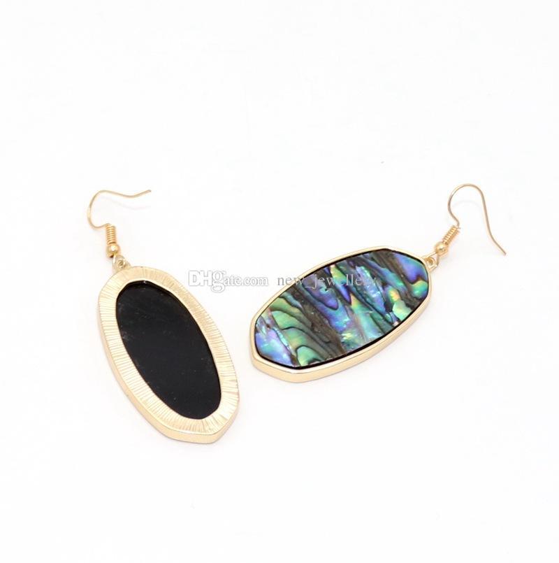Moda 6 Stili Oro Colore Geometria Turchese Shell Charm Ciondola Druzy Orecchini gioielli di marca donna
