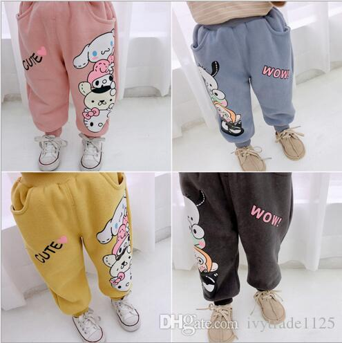 ed54f0a96c3f INS New Baby Kids Clothing Winter Girl Cartoon Design Velvet Pant ...