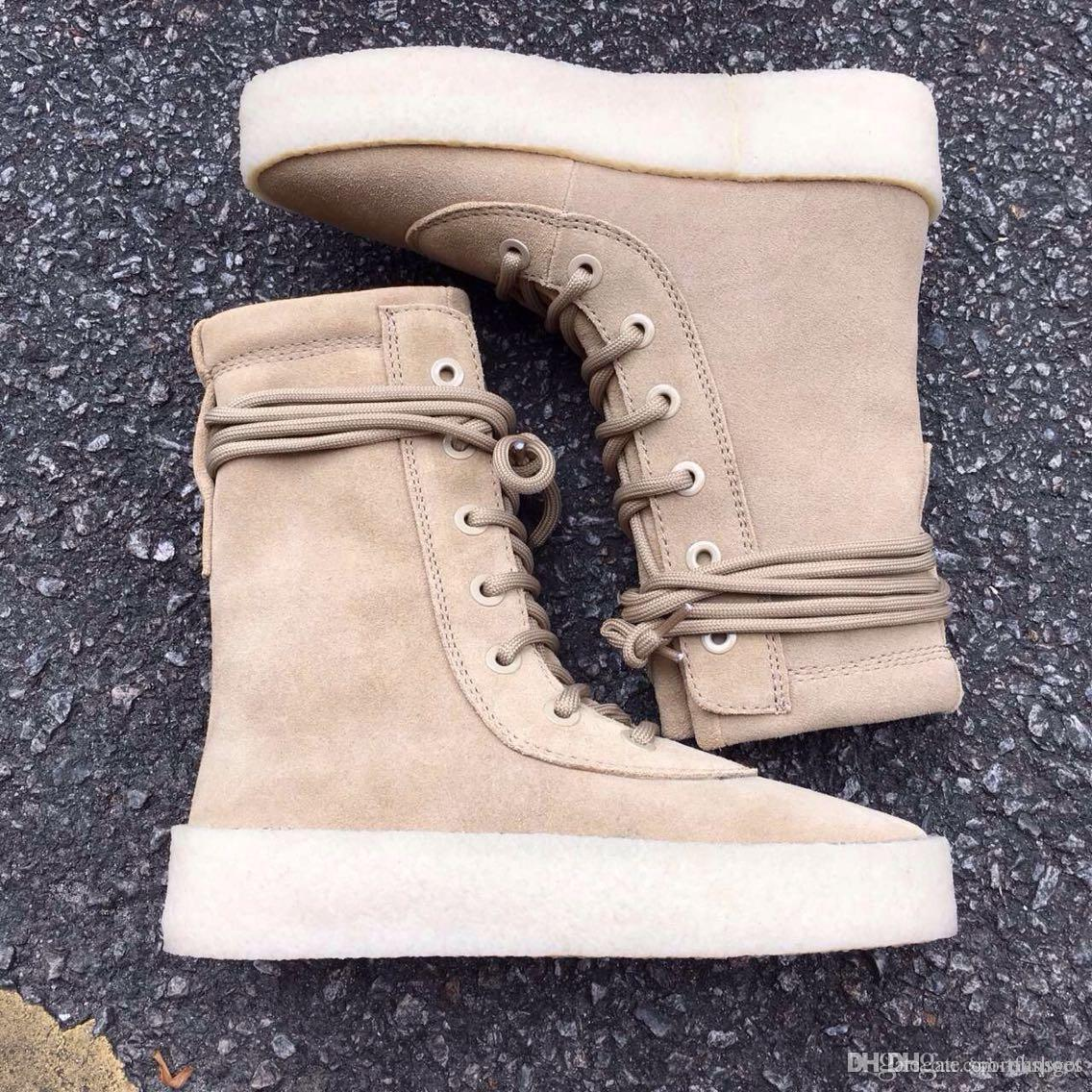 e4fe832a6de New 2016 Kanye West Season 2 Crepe Boot New Boot High Cut Made In Spain  With Box Fashion Sneakers Men Women Boot Size 36 45 Running Spikes Track  Shoes From ...