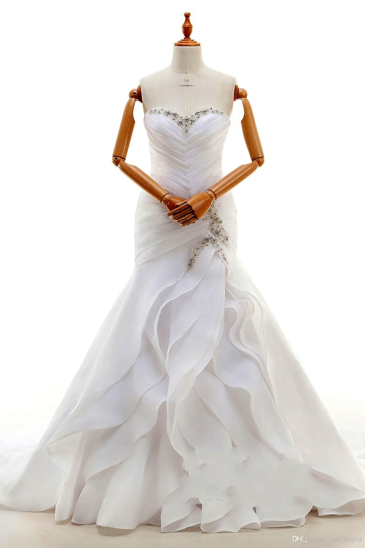 2018 White Strapless Mermaid Wedding Dresses Long Chiffon Beaded Sweetheart Bridal Gowns Lace up Cascading Ruffles Plus size Dresses
