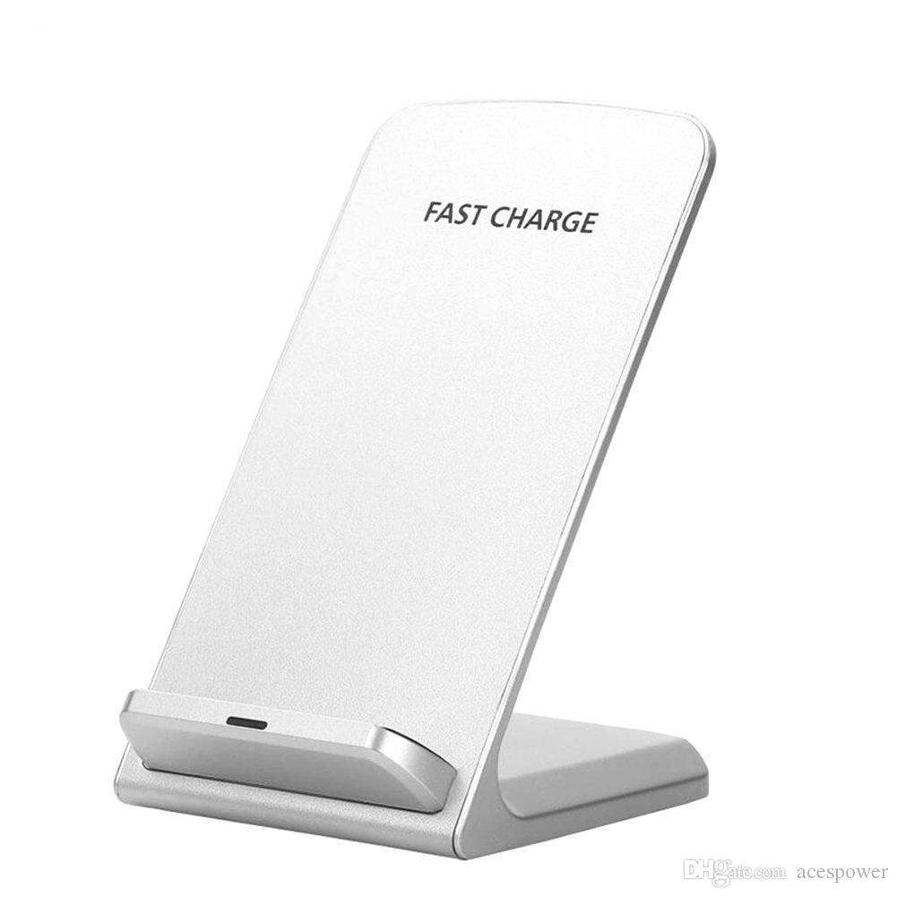 Qi Kablosuz Şarj 2 Bobinler Hızlı Kablosuz Şarj Standı Pad iphone X 8 8 Artı Samsung Galaxy S9 S8 + Not 9 8
