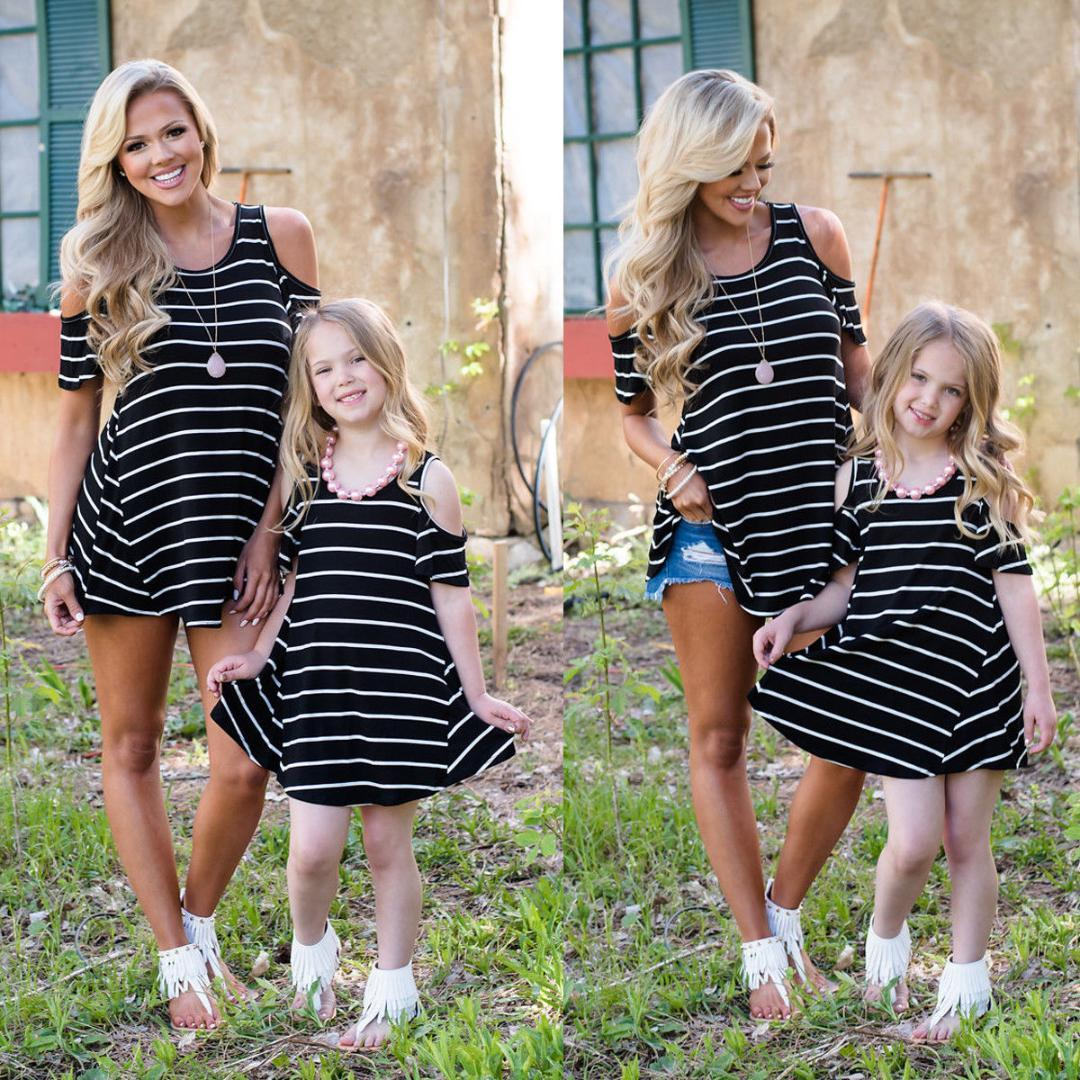 35e9bab4e1 2018 Brand New Family Matching Sets Mother Daughter Summer Dress Off  Shoulder Striped Mini Dress Long Tops Outfit 2 9Y Girls Mother And Baby  Matching ...
