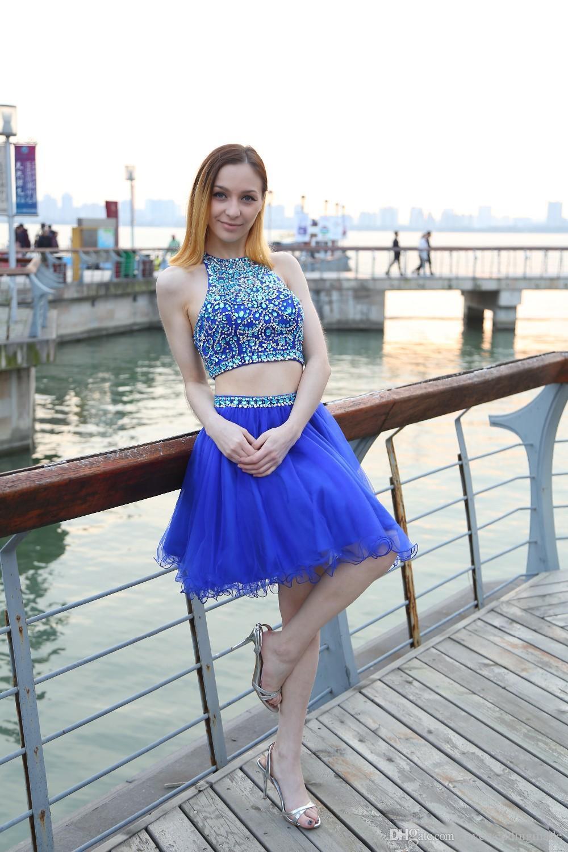 Royal Blue Corto lujo perlas de cristal de Fiesta Vestidos 2018 vestido sin mangas de dos piezas ojo de la cerradura Prom Party Volver niñas