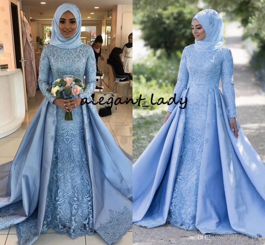 Bleu Ciel Pays Musulman Pays Robes De Mariée De Jardin Avec Jupe 2019 Col Haut Manches Longues En Dentelle Tache De Dubaï Arabe Hijab Robe De Mariée