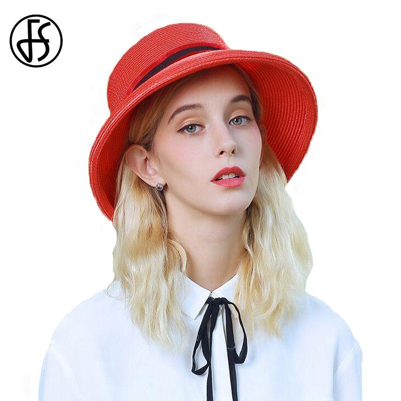 FS Summer Sun Hat Wide Brim Straw Hats Red Blue Flat Ladies Beach Flat Hats  For Women Folding 2017 Chapeu De Praia Wide Brim Fedora Summer Hat From  Ekkk 7805998ad86