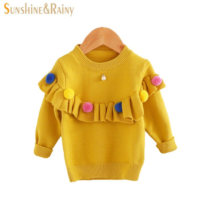 aef2b591527e Ins Baby Girls Sweaters Kids Handmade Pom Pom Sweater Coats For ...