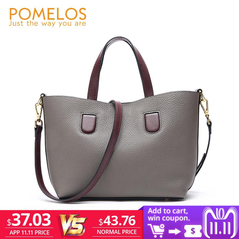 40d4301bd16 2019 Fashion POMELOS Women Bag Luxury Brand Purses And Handbags Shoulder  Bag Genuine Leather 2018 New Style Ladies Purse Tote Bag Hand Woman