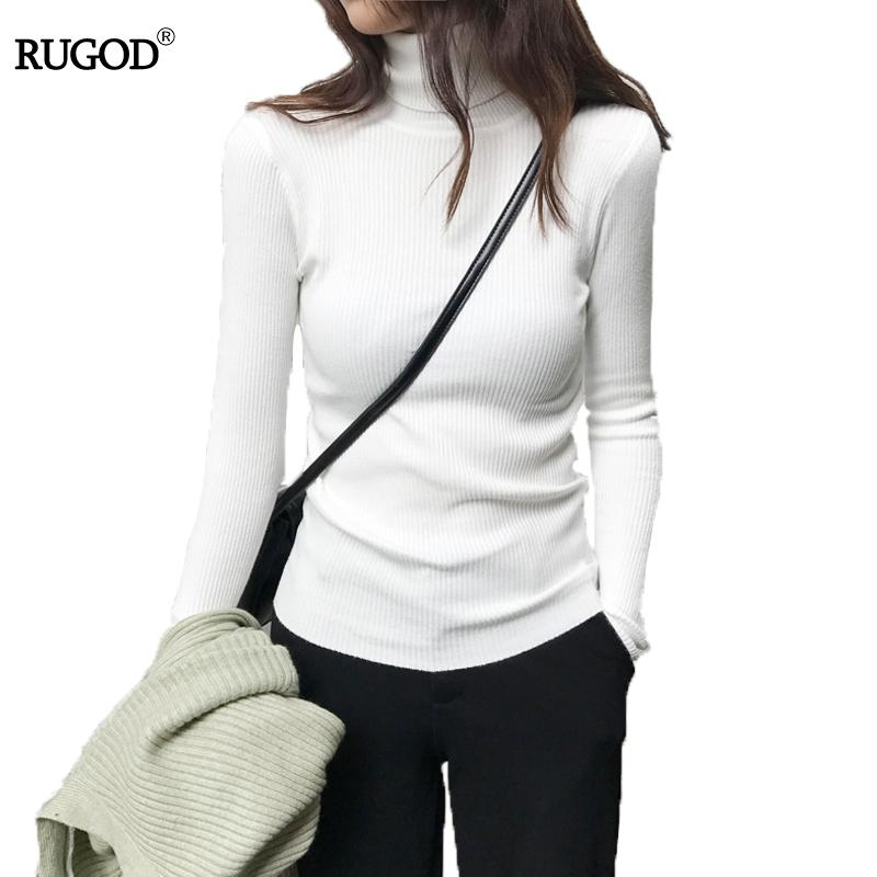 30b7a6bcb9a 2018 RUGOD Women Sweaters And Pullovers Thick Slim Solid Knitted Sweater  Long Sleeve Warm Turtleneck Cashmere Sweater Women 2018 From Bunnier