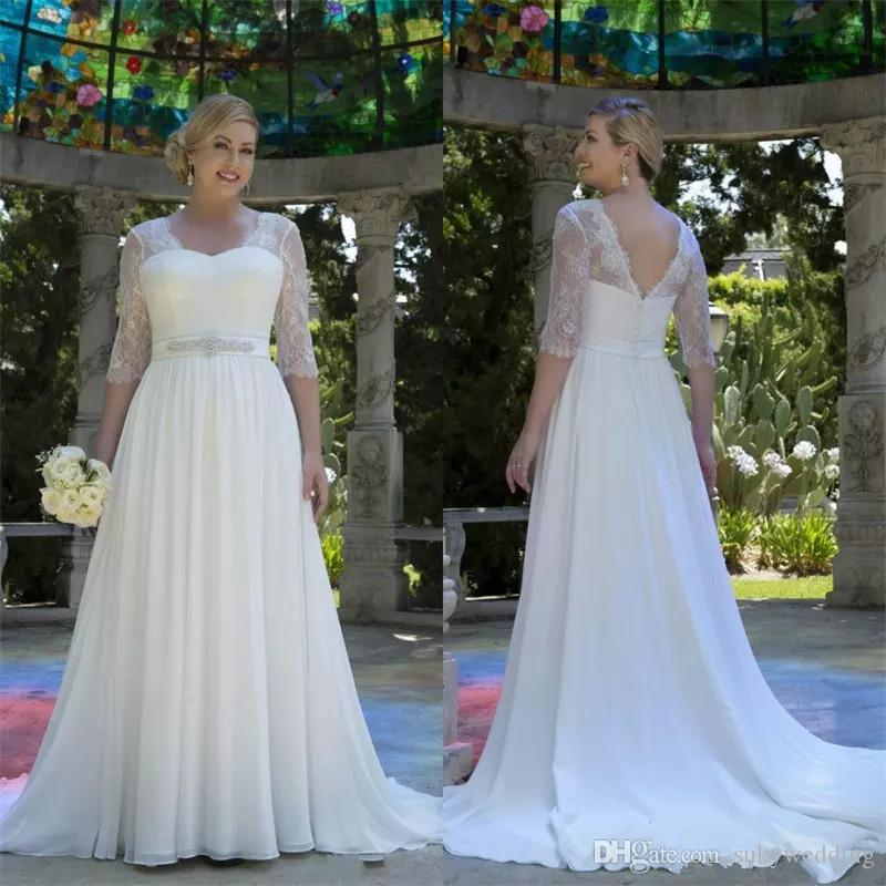 Country Western A Line Cheap Chiffon Bridal Gowns Beaded: Discount Country Style Plus Size Wedding Dresses Backless