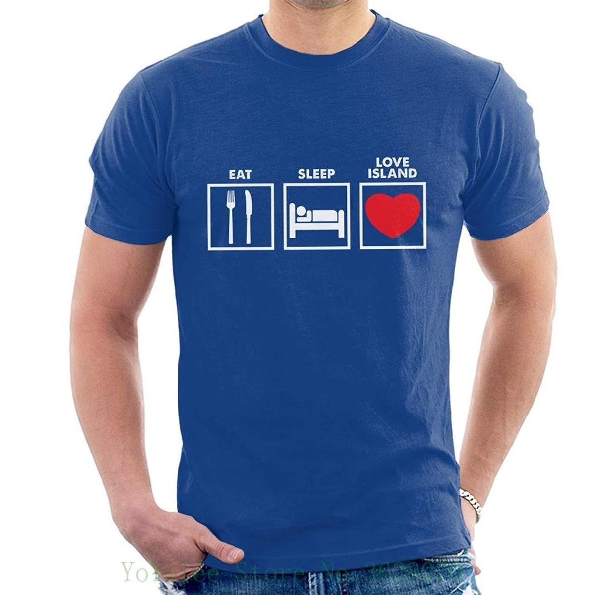 b7dbb9dcd Eat Sleep Love Island Graphics Men's T-shirt Printed T-shirt Men's Short  Sleeve O-neck T-shirts Summer Stree Twear