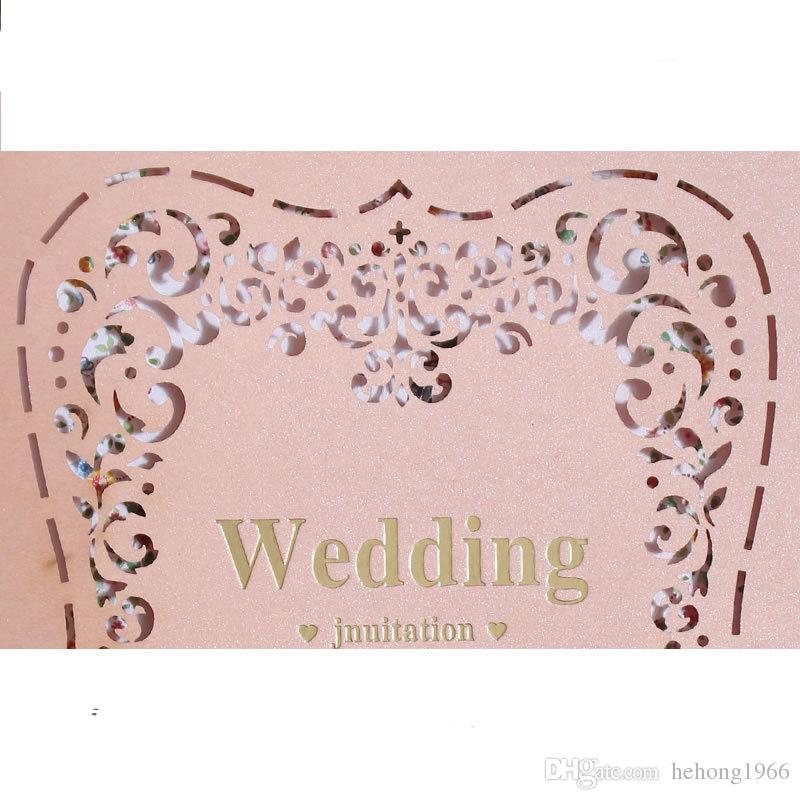 Acheter Rose Invitations De Mariage Carte Romantique Couleur Shell Pour Les Amoureux Marry Décoration Outils Laser Cut Cartes De Voeux De Haute